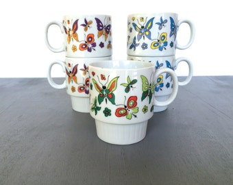 vintage stacking mugs butterfly retro Japan colorful