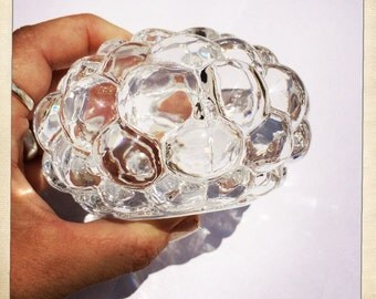 vintage crystal candle holder Orrefors Raspberry bubble votive tealight holder crystal Sweden glam
