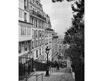 Black And White Paris Photography, Montmartre Steps, Art,  Fine Art Photo. Travel Photography.