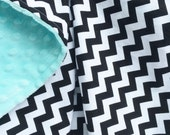 29x32 Black and White Small Chevron 100% Cotton with Aqua Minky Dimple Dot Blanket Gender Neutral Ready to Ship