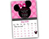 Pink Minnie Mouse Save the Date Calendar Invitation