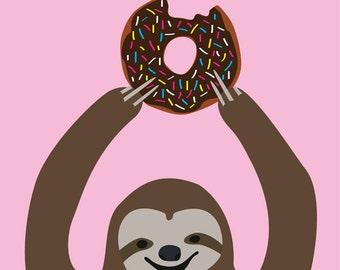 Chocolate Doughnut Sloth - Greeting Card