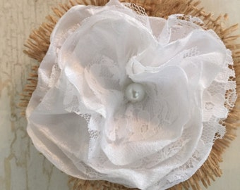 Burlap, satin and lace flower
