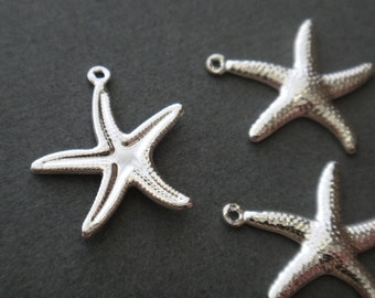 Textured Starfish Charm Bright Silver Plated  4pc