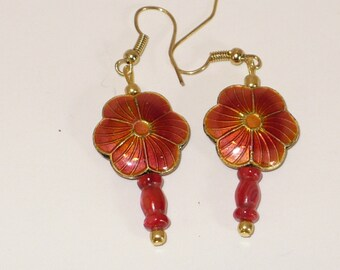Burnt orange cloisonne flower with glass bead earrings.