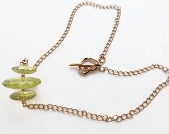 Lemon quartz pendant, rose gold pendant, pink gold necklace, necklace for women, lemon quartz necklace, chain necklace, statement necklace