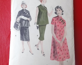 Size 14 Maternity Smock, Skirt, and Dress with Mandarin Collar Vintage Butterick 7795 Sewing Pattern