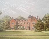 Antique wood block colour print Lea Yorkshire Elizabethan nobleman gentleman home mansion