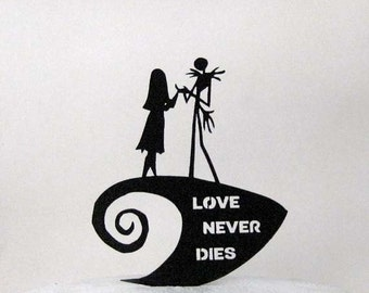 Wedding Cake Topper -The Nightmare Before Christmas jack and Sally silhouette with Love Never Dies