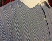 """Hawes and curtis mens 16"""" neck 34"""" sleeve glen plaid contrast collar & french double cuff dress shirt"""