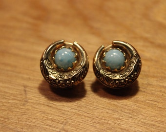 Vintage Gold/Teal Stone Accent Clip On Earrings, #98