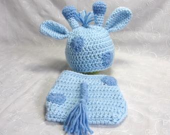 Newborn Baby Boy Giraffe Hat with Matching Diaper Cover Set~Crochet Giraffe Hat~Giraffe Newborn Photo Prop~Crochet Giraffe Diaper Set