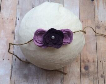 Purple flower headband, baby headband, child headband, vintage headband, tie back headband