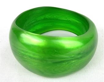 Vintage Green Swirl Lucite Bangle, Asymmetric Shape, Mad Men Chic