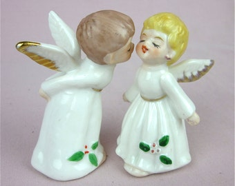 Vintage Kissing Angels, Hand Painted China
