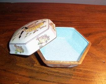 Vintage Handpainted Duck Metal Trinket Box