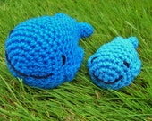Cute Crochet Whale Family Mommy and Baby Whale Set Children's Toy