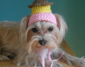 Crocheted Cupcake Dog Hat, Birthday Cupcake Cat Hat, Birthday Party Pet Hat