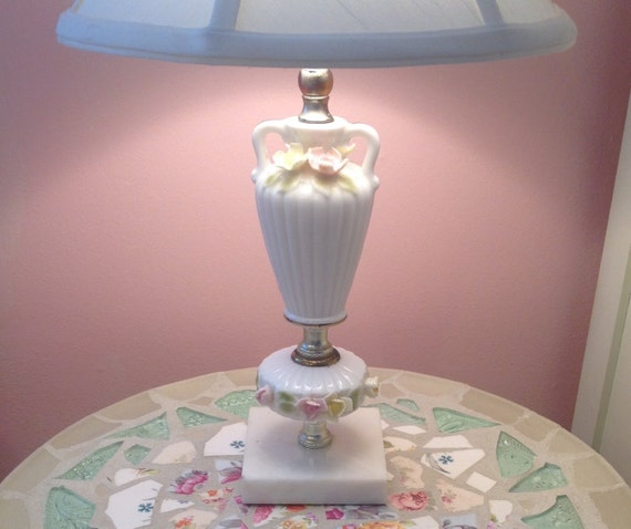 Small Porcelain Table Dresser Lamp Applied Roses Flowers