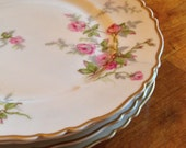 """Haviland Limoges China """"Sylvia-White"""" Pattern Set of Three Pink Floral Salad Plates, Gold Trim Plate, Scalloped Edge Plate, French Limoges"""