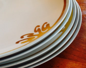 Set of Five Beautiful Signed Hand-Painted Dinner Plates