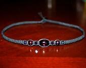 Black Hemp Choker Necklace - Dark Purple Iridescent Glass Beads - Womens Choker - Teen Girl Gifts for Her - Girlfriend Gift - Teen Necklace