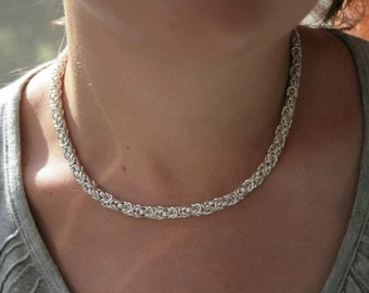 925 Sterling Silver Byzantine Chainmaille Necklace