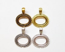 4 Different Plated Colors of 25x18 mm Horizontal Wreath Design Enhancer Bail Pendant Settings, for Cameos, Glass, Tiles
