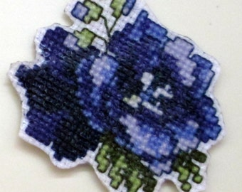 July larkspur cross stitch magnet