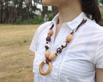 Organic Fabric Necklace with Wood Ring Pendant,Teething Necklace, Chomping Necklace, Nursing Necklace - Cherry Blossom on burgundy brown
