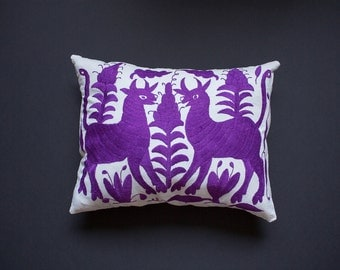 purple otomi embroidered pillow cover