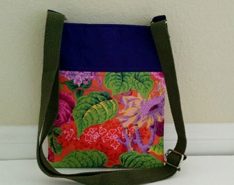 Floral Crossbody Bag, Kaffe Fassett Cross body Bag, Purple Crossbody Purse, Fabric Crossbody bag