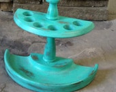 Vintage Pipe Rack - Painted Aqua Distressd - Razor Holder - Toothbrush Holder - Man Cave - Fathers Day - Pipe Holder