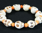 White Day of the Dead Skull Bracelet with Orange Magnesite Beads (Dia De Los Muertos - All Saints Day)