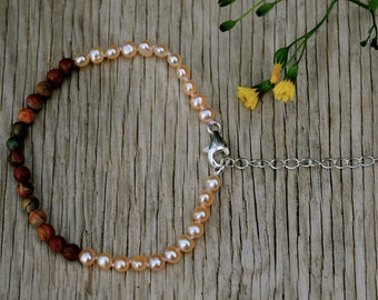 pretty delicate stone and pearl bracelet, two toned bracelet, perfect summer bracelet