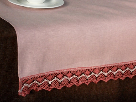 Old rose color runner dusty pink natural linen table runner with lace