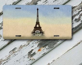 "License Plate Eiffel Tower 2 Design on 6"" x 12""  Aluminum License Plate"
