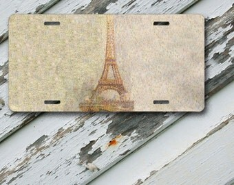 "License Plate Eiffel Tower Design 4 on 6"" x 12""  Aluminum License Plate"