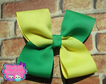 Solid Color Hair Bow Two Tone Color Hair Bow Green and Yellow Spring Summer Colored Clip Hair Accessory