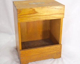 Rare Vintage Bell System Butt Box, Telephone Repairman's Tool Box, Oak Wood, trench Stool