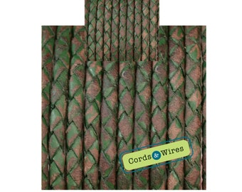 CW04140 - 0.40 meter x 4.00mm Vintage effect  Braided Leather Cord