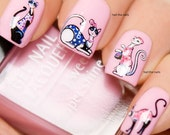 Cute Cartoon Cats Nail Art Water Transfers Salon Quality Nail Stickers Wraps Decals Y1993