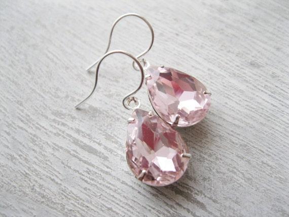 Light Pink Teardrop Earrings, Bridesmaid Earrings, Pink Wedding, Silver Plated, Summer Bridal Jewellery, Baby Pink, Old Hollywood Glam, Prom