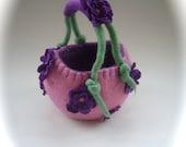 Basket. Handfelted .Felted bag,Bowl.Flower girl Basket. flowers.