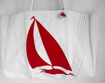 XLG RED SAILBOAT Sail Cloth Bag handmade and one-of a kind