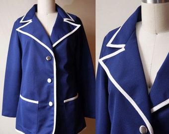 1990s Galliano blazer // navy blue // vintage blazer