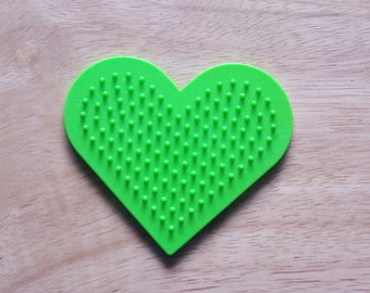 Perler Bead Green Heart Pegboard, Ironing Paper, Instructions, Craft Supply, Church Craft. School Craft