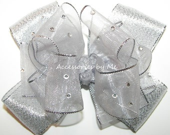 Silver Hair Bow, Gray Hairbow, Organza Lame Ribbon Clip, Embellished Barrette, Girl Baby Toddler Accessories, Glitz Pageant, Christmas Party