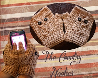 Custom Crochet Cabled Owl Texting Gloves It's A Hoot Fingerless Mitts