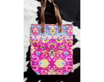 Pink neon canvas tote bag
